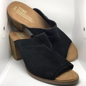 Toms Majorca Open Toe Black Suede Wedges Size 11